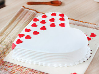 Zoomed View of Heart Shaped Vanilla Cake