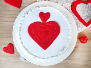 Top View of Vanilla cake with fondant hearts