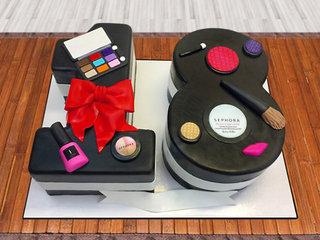 Makeup Kit Fondant Cake For 18th Birthday of Girl