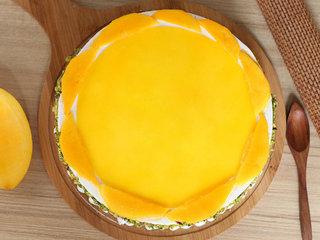 Top View of Round Luscious Mango Cake