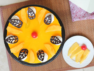 Top View of Mango Cheese Cake