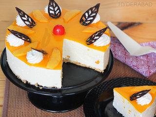 Sliced View of Mango Cheese Cake