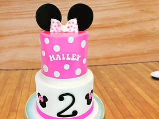 Minnie Mouse Polka Fondant Cake Fpr Girls