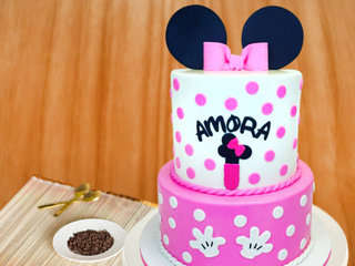 Two Tier Minnie Mouse Cake For Girls