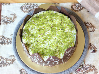 Top View of Choco N Pistachio Flavoured Round Cake