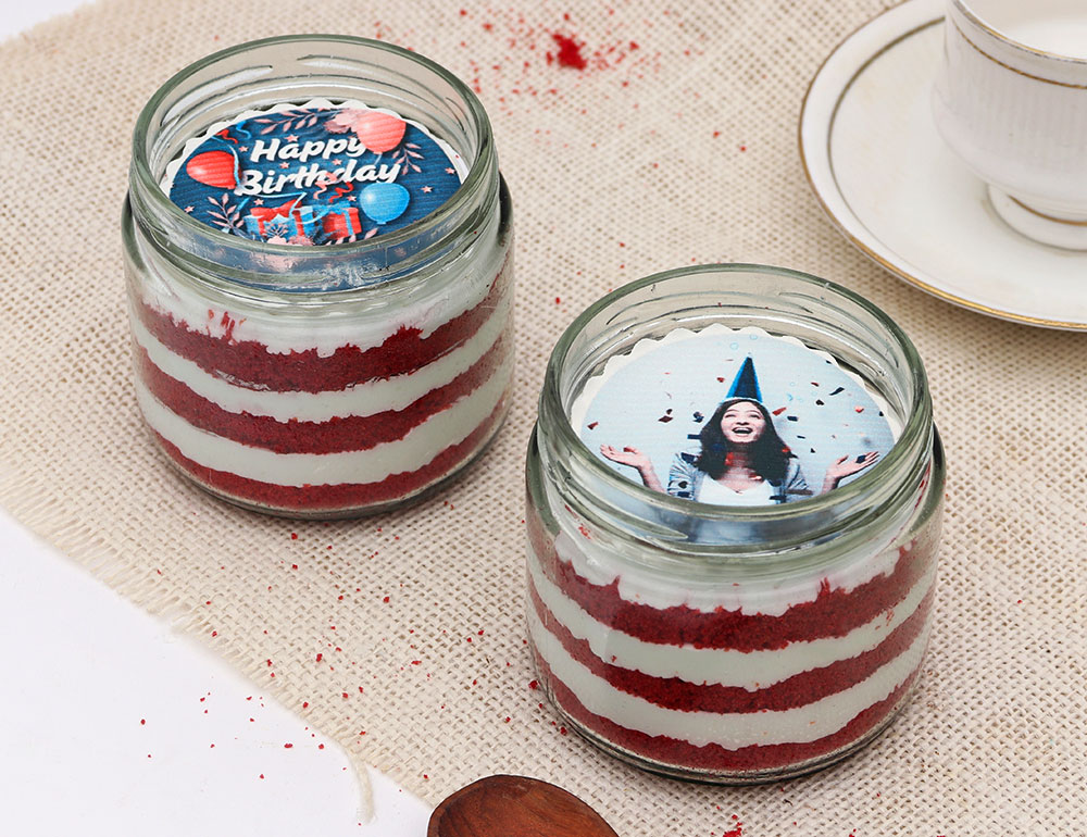 Personalised Bday Red Velvet Jar Cakes