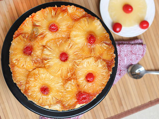 Top View of Pineapple Upside Down Fruit Cake