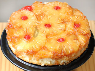 Zoomed View of Pineapple Upside Down Fruit Cake
