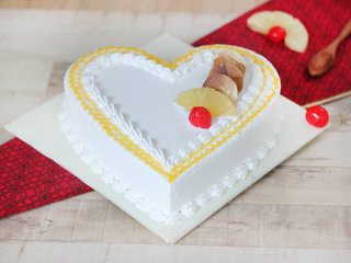 Heart Shaped Pineapple Cake for Lovers and Couple