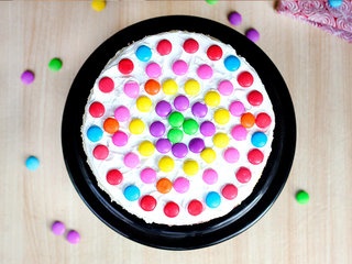 Top View of Rainbow Gems Tower Cake
