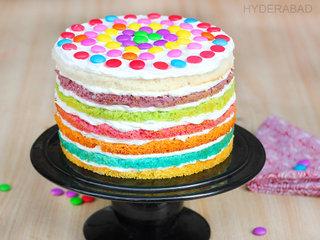 Order Rainbow Gems Tower Cake Online in Hyderabad