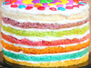 Zoomed View of Luscious Layered Rainbow Cake
