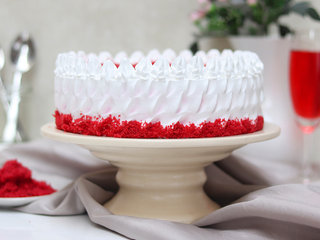 Side View of Creamy Red Velvet Cake