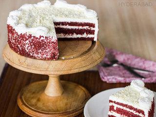 Sliced View of Red Velvet Cake