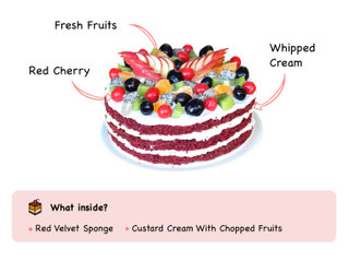Red Velvet Fruit Cake with ingredients