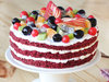 Side View of Red Velvet Fruit Cake