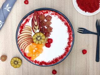 Top View of Red Velvet Fruit Vegan Cake in Delhi