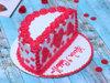 Top view of Half Red Velvet Cake