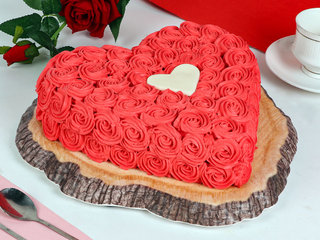 Side View of Red Velvet Heart Cake