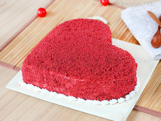 Lateral View of Red Velvet Heart Cake