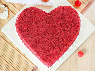 Top View of Red Velvet Heart Cake