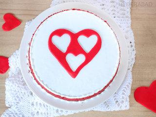 Top View of Dessert Of Love - Red Velvet Fondant Heart Cake in Hyderabad