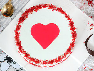 Top View of Red Velvet with Fondant Heart Cake