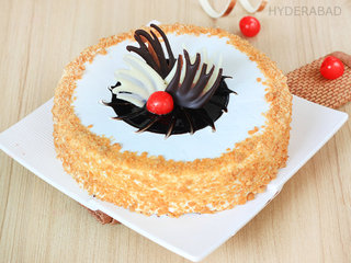 Crunchy Nougat Butterscotch Cake Delivery in Hyderabad