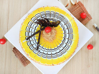 Top View of Butterscotch Cake With Chocolate Swirls