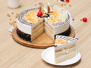 Sliced View of Round Shaped Crunchy Butterscotch Cake