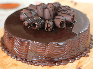 Zoomed View of Chocolate Cake with Swirling Design