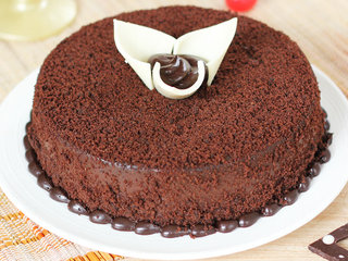 Side View of Round Shaped Chocolate Cake