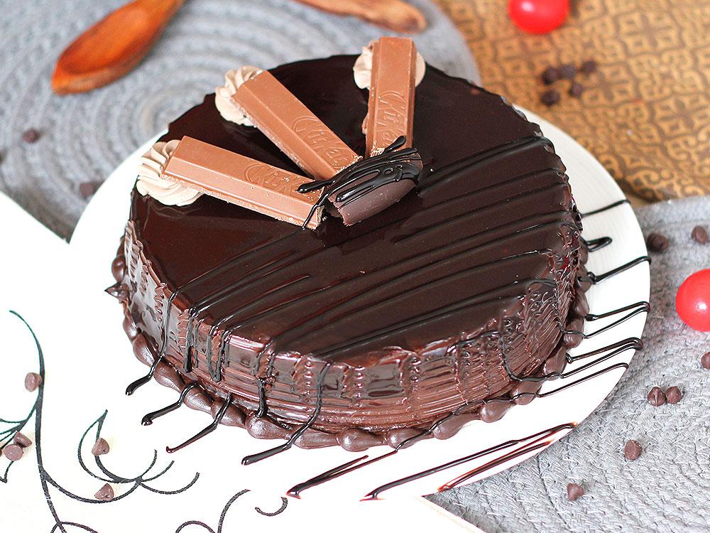 Send Decadent Choco Kitkat Cake in Gurgaon;Top View of Decadent Choco Kitkat Cake;Side View of Decadent Choco Kitkat Cake