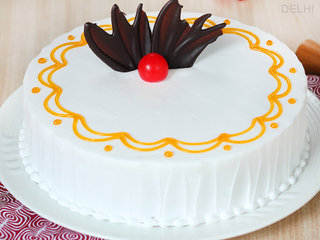 Zoom View of The River Of Cream - Round Shaped Vanilla Cake