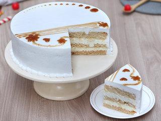 Sliced View of Round Vanilla Cake