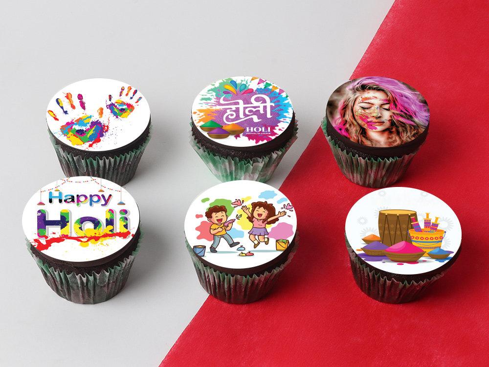 Six Personalised Holi Cupcakes