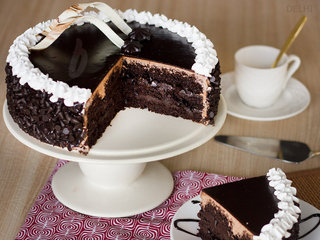 Sliced View of Chocolate Chip Cake