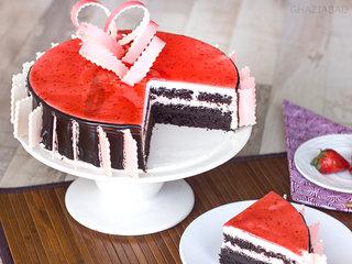 Slice View of Choco Strawberry Cake