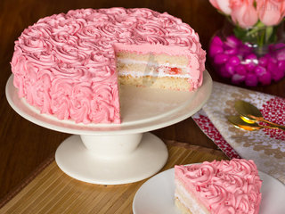 Sliced View of Strawberry Rose Cake