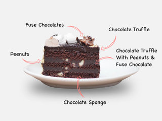 Sliced View of Chocolate Overdosed Snickers Cake with ingredients