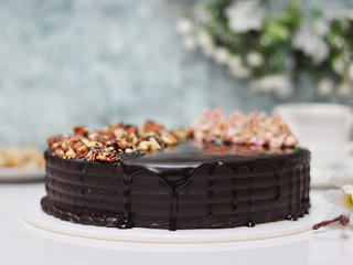 Side View of Snickers Cake With Nuts