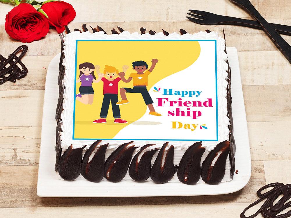 Ecstatic Friendship Day Poster Cake