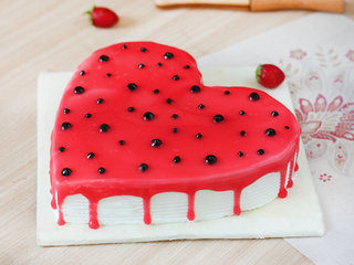 Zoomed View of A Delicious Heart Shaped Strawberry Cake
