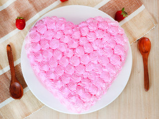 Heart Shaped Strawberry Cream Cake