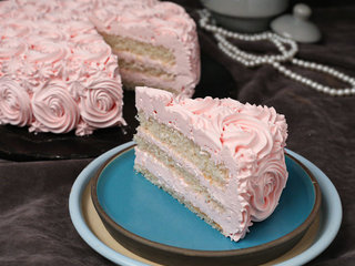 Sliced View of Strawberry Rose Cake with ingredients