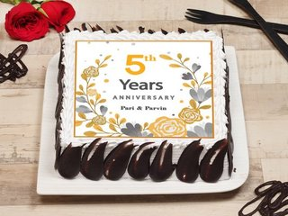 Square Shaped 5th Anniversary Cake