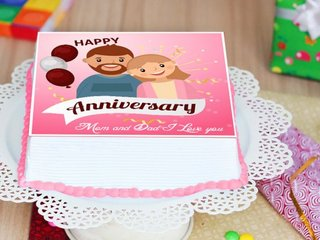 Square-shaped Cartoon Poster Anniversary Cake