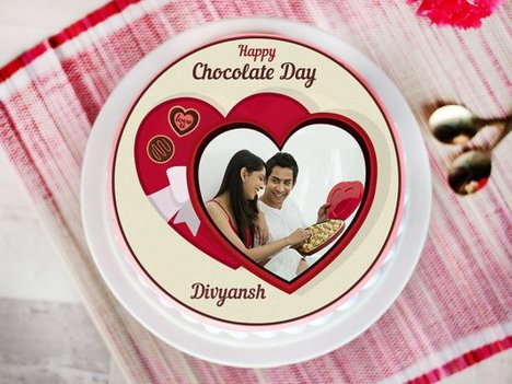 A chocolate day special photo cake