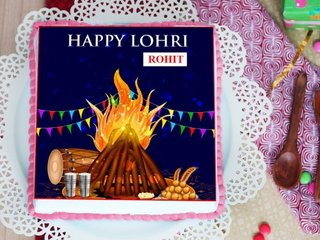 Square shaped Lohri Poster Cake