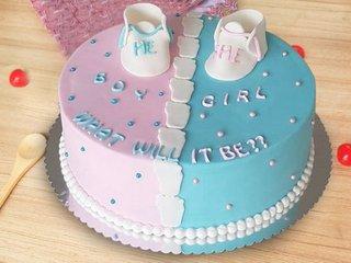 Round Fondant Baby Shower Cake
